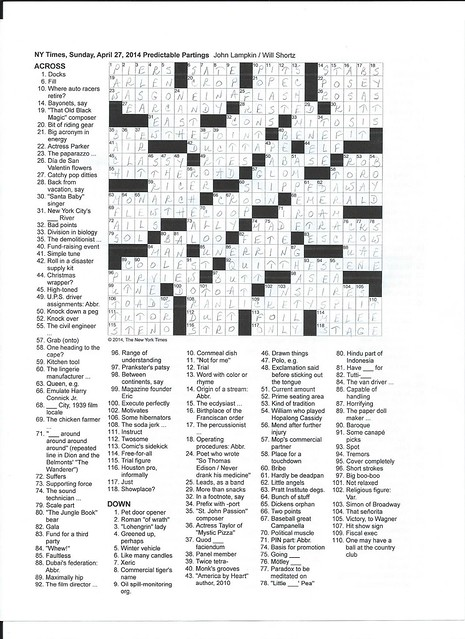 NYT Sunday Puzzle - April 27, 2014