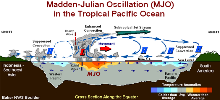 madden-julian oscillation in tropical pacific ocean