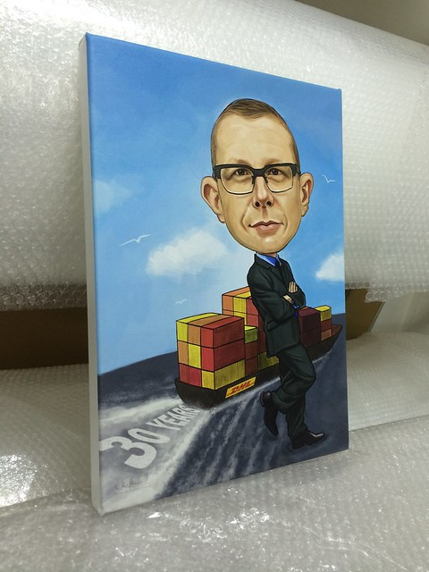 digital caricature painting for DHL printed on stretched canvas
