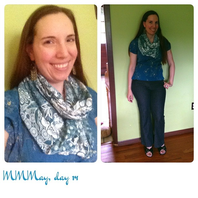 Me-mades: charcoal Thurlows, top, infinity scarf. #mmmay14