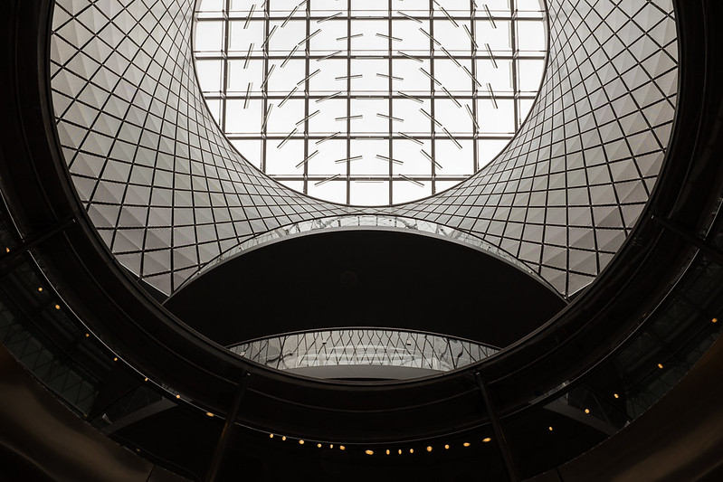 Fulton Center rotunda and staircase from lower level