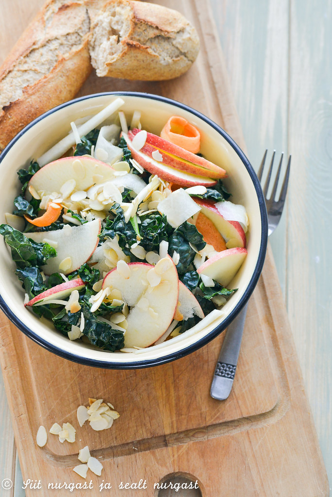 winter salad with kale , apples and almonds