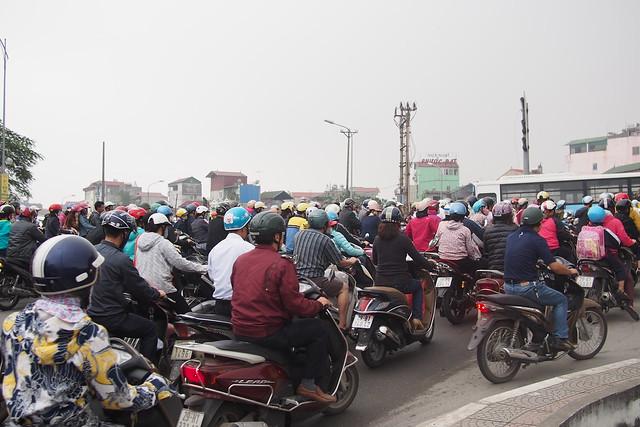motorcycle jam, Hanoi, Vietnam