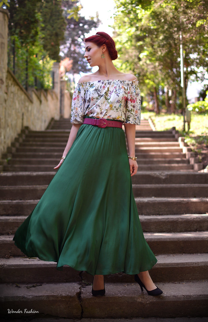 silk green skirt4