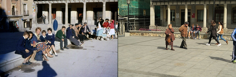 Plaza de Zocodover de Toledo en noviembre de 1961 y en abril de 2016 fotografiada por Piet Welling y Lieke Welling (1961) y Hans Welling (2016)
