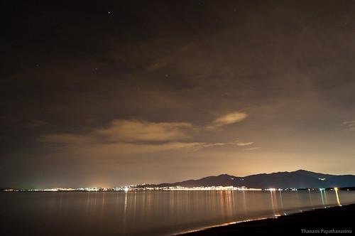 sea sky reflection beach night clouds dark stars coast gulf nightscape greece attica lightpollution schinias rafina neamakri dikastika