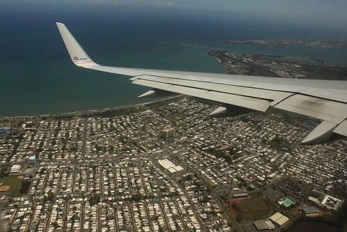 ocean city puerto bay san view juan low over aerial rico american pr boeing winglet airlines aa 737 sju konomark