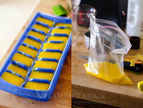 Freezing mango puree