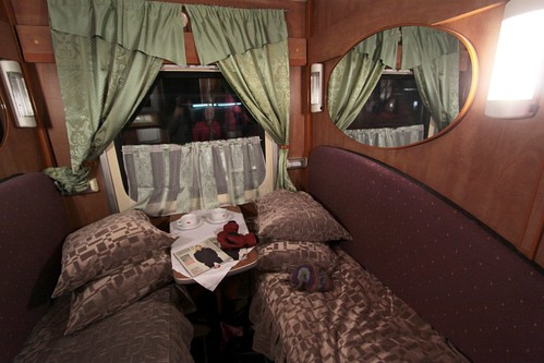 Boarding the train, our first class compartment ready for our night crossing Russia