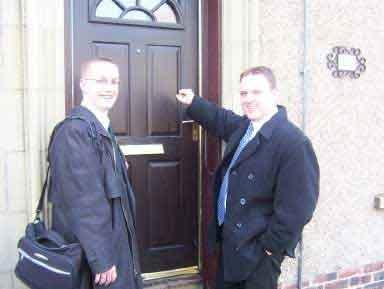 Elder Egan and Elder Müller out knocking on doors
