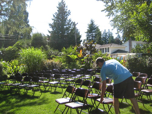 Galicic Garden setting up chairs