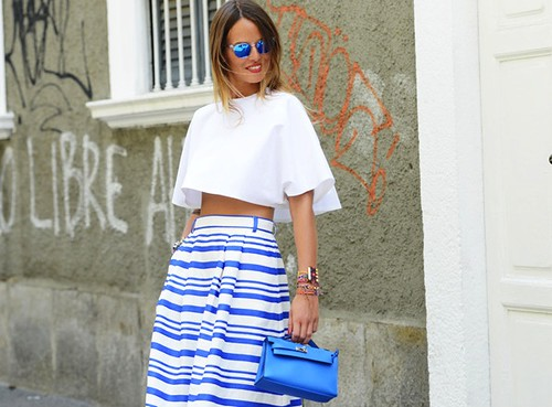 Crop top, mirrored sunglasses, uk fashion blogger, summer fashion trend, full high waist skirt