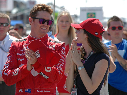 Scott and Emma applaud the anthems - Honda Indy Toronto