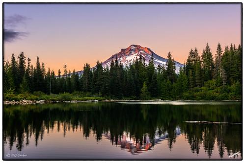 sunset lake mirrorlake resort nationalforest mthood hdr lastlight mthoodnationalforest