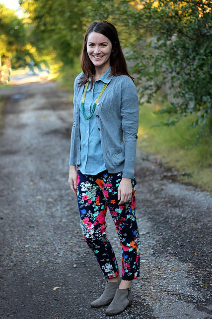 floral-pants-chambray-with-cardigan-2