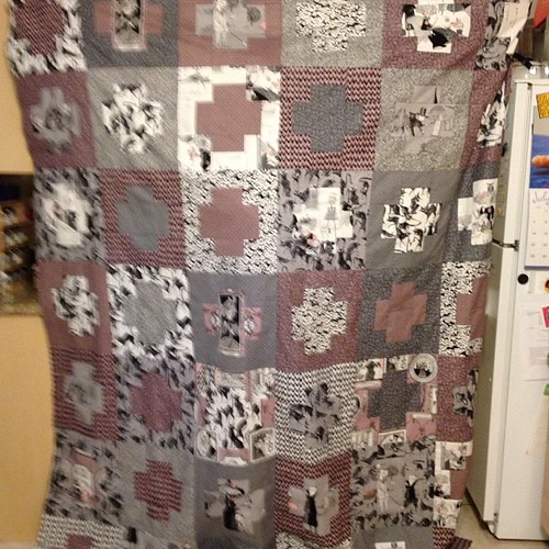 Blurry pic, but my #ghastlies  quilt top is finished!