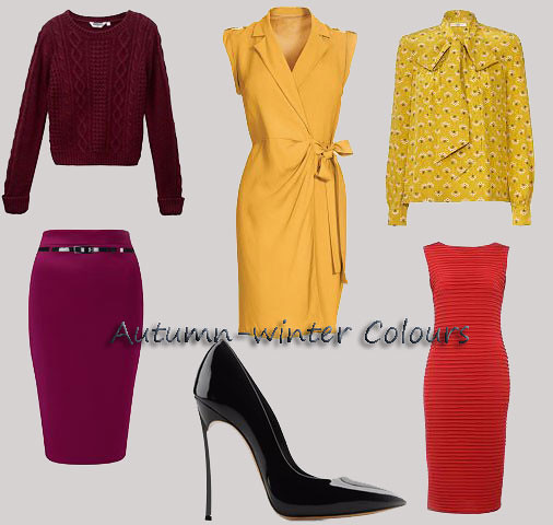 Autumn-winter Colours, colours of the season, winter colours, autumn colours, season's colours, crimson/burgundy, red, plum, ochre, maroon