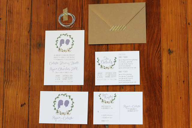 My Wedding Invitations - Personalized silhouette cameo with evergreen wreath and antlers