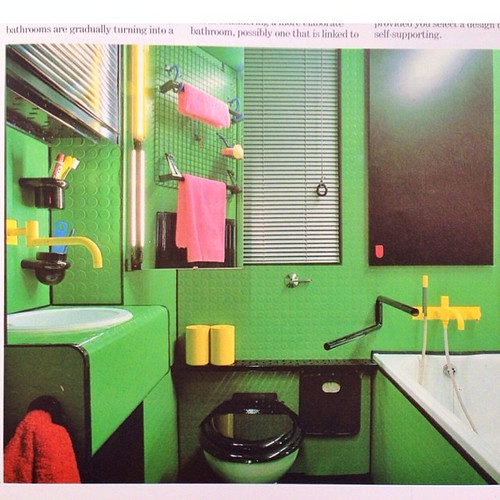 "Pirelli rubber-tiled surfaces and yellow Vola faucets in architect Eva Jiricna's London bathroom,1983. Also used as bathroom number 8 in #PeterGreenaway's 1985 film ""26 Bathrooms""."