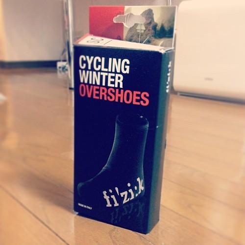 #fizik overshoes for winter ride. 先週のフリマの売り上げで購入。