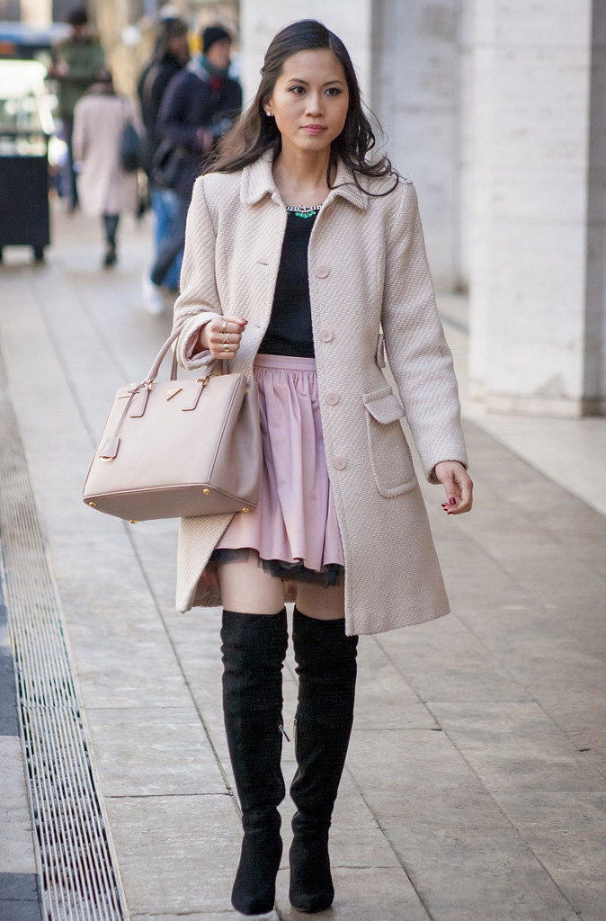 Mercedes Benz New York Fashion Week February Fall/Winter 2014 street style outfit pink coat, skirt, over the knee boots. NYFW MBFW