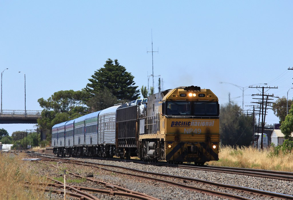 NR49 departs Horsham with MA8 Overland service to Adelaide by bukk05