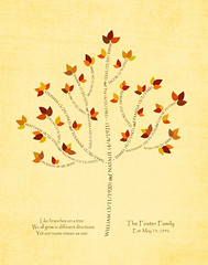 Family tree with names art light yellow brown present day autumn leaves dates