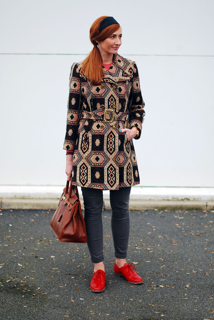 Vintage tapestry coat, red brogues