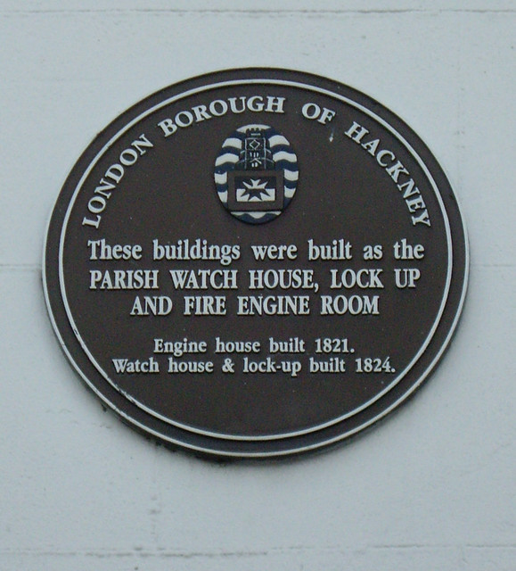 Brown plaque № 8582 - These buildings were built as the  Parish Watch House, lock up and fire engine room Engine House built 1821.  Watch House  & lock-up built 1824.