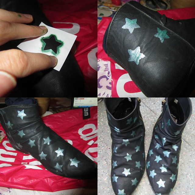 Star boots upcycle part 2