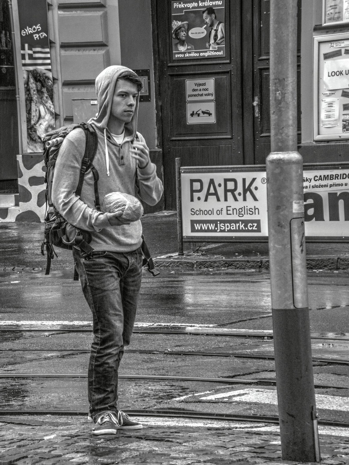 Young Man with Bread (HDR monochrome)