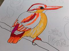 Vogel mit Stylefile Brush-Markern gezeichnet