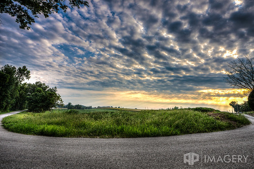 road sunset sky field clouds country curved