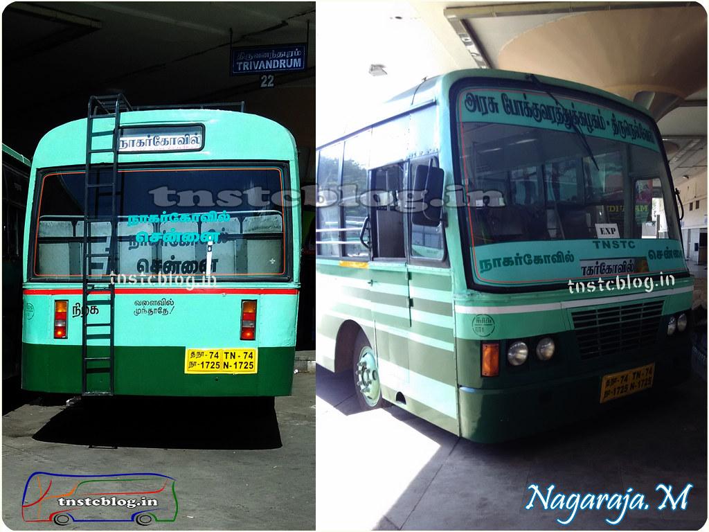 TN-74N-1725 of Ranithootam 1 Depot Route Nagercoil - Chennai via Tirunelveli, Madurai, Trichy. Pic belongs to Nagaraja.M