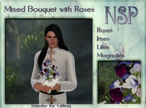 NSP Mixed Rose Bouquet - Wine-White-Blue