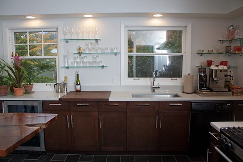 Decorate Kitchen with Tile and Oak Cabinets Slate Floor