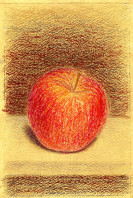 red apple. A5. Oil pastel, colored pencils, acrylic