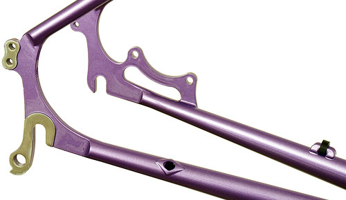 Gunnar Fastlane Custom in Starlight Purple with DI2 Routing - rear dropout detail | by Gunnar Cycles