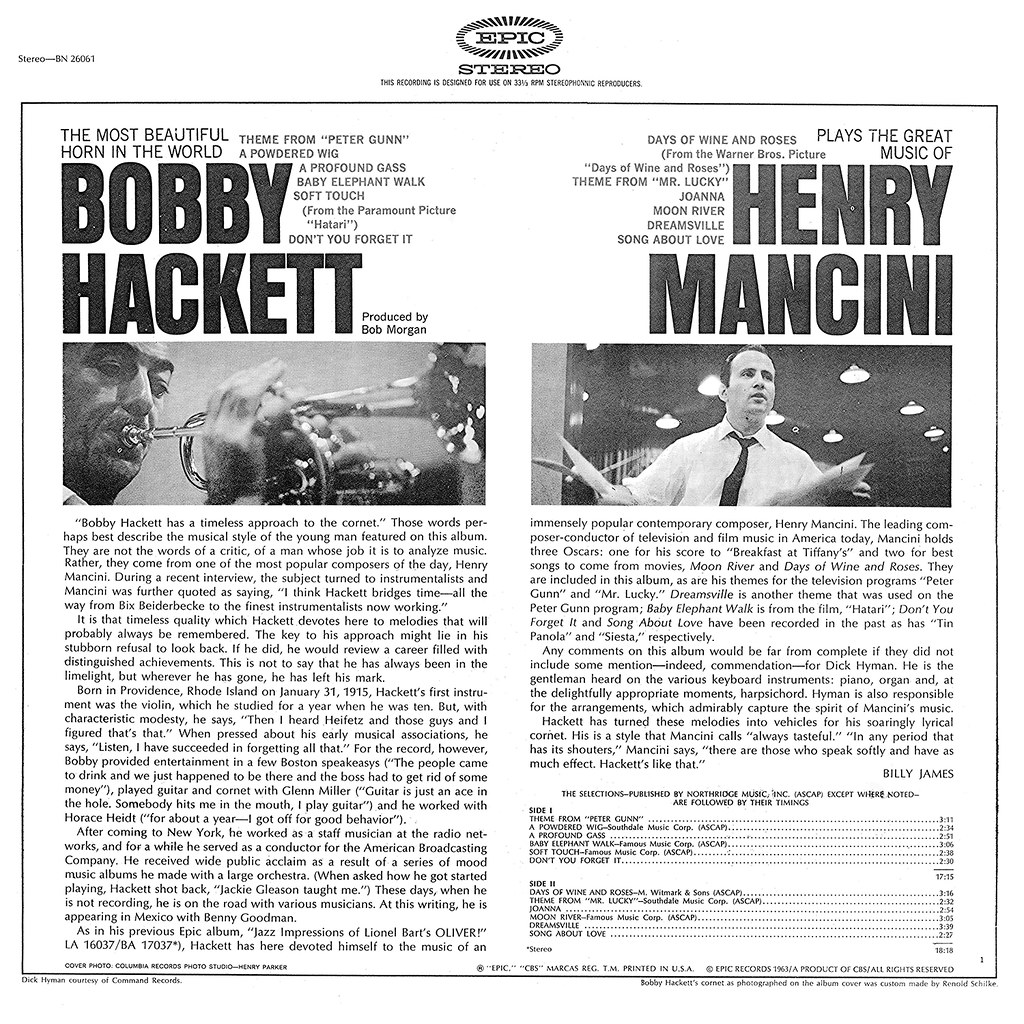 Bobby Hackett Plays The Great Music of Henry Mancini