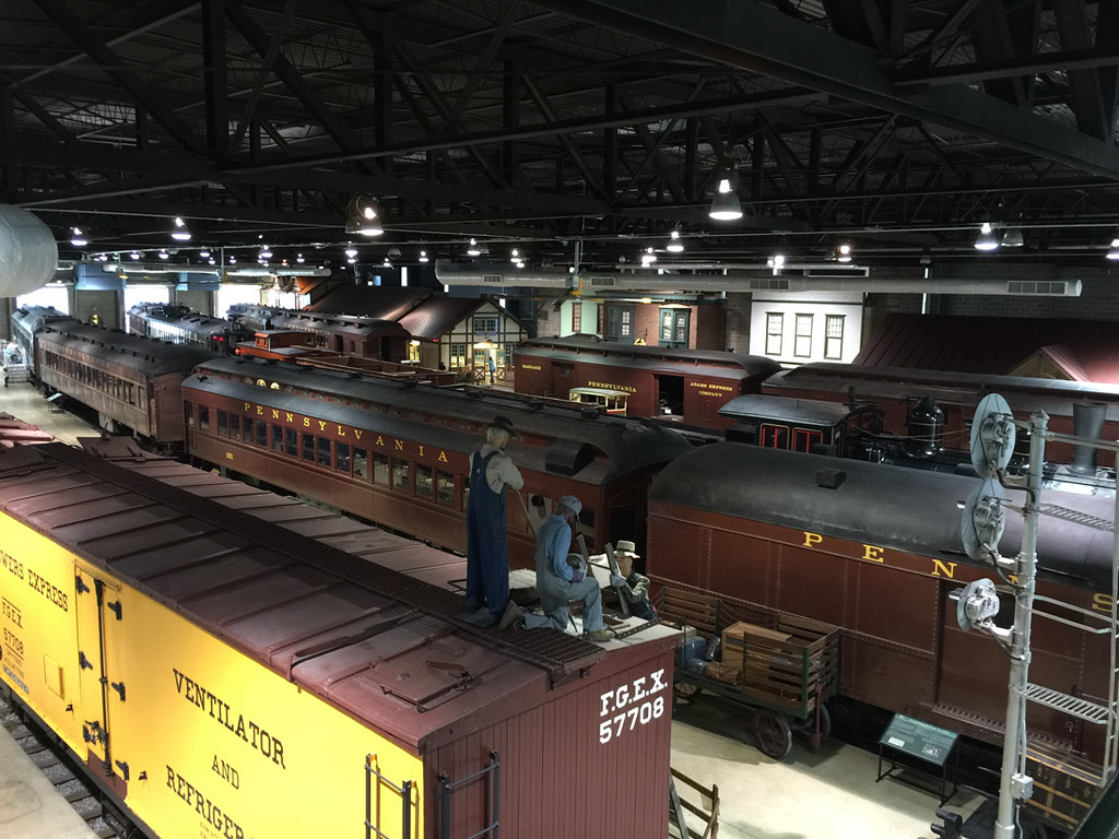 Trains from above at museum