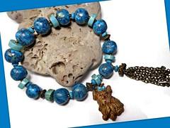 polymer clay Yorkie Dog bracelet