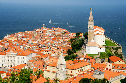 View of old city and Adriatic from the Town Walls, Piran / Slovenia