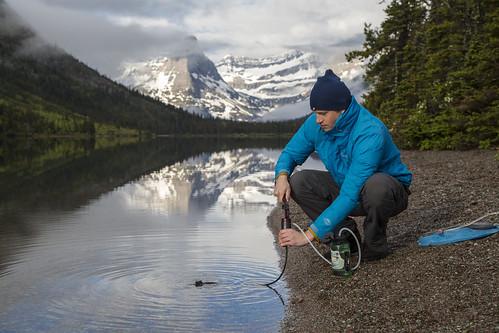 Nick Filtering Water at Cosley Lake