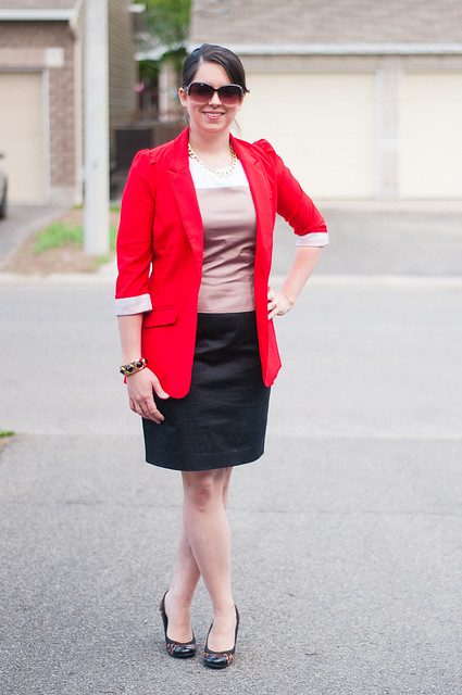 colour block mexx dress red blazer