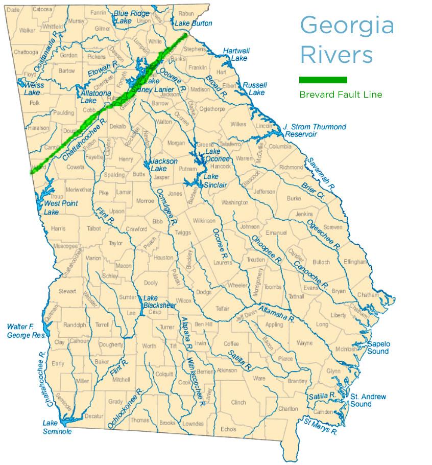 Cataclasis Creeks Near Atlanta - Fault lines in georgia
