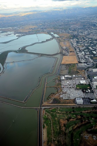 The waters of South Bay, the southern end of San Francisco Bay, from the air, Silicon Valley, Santa Clara Valley, home to high tech businesses, California, USA by Wonderlane