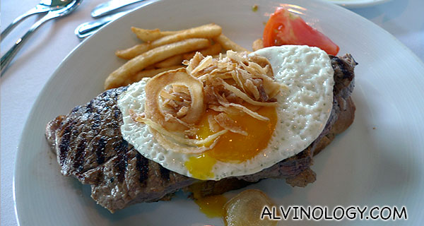 Steak with egg for me