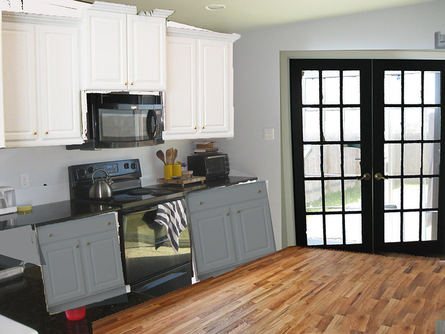Kitchen W Black Door Gray Lower Cabinets