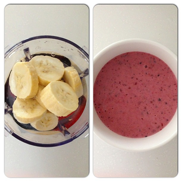 Before blending. After blending. #berry #smoothie #antioxidant #healthy #fitness #healthfood