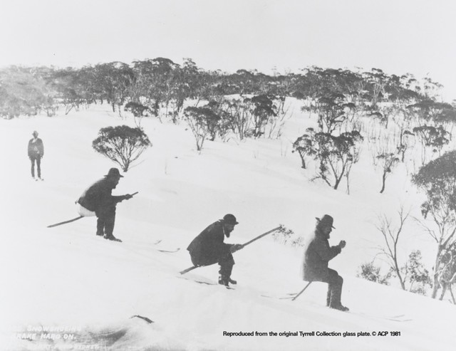 Snowshoeing brake hard on, Kiandra [?], New South Wales, ca. 1900